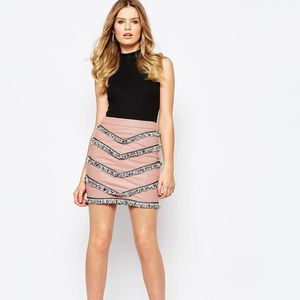 NWT Goldie London Empire Faux Leather Skirt